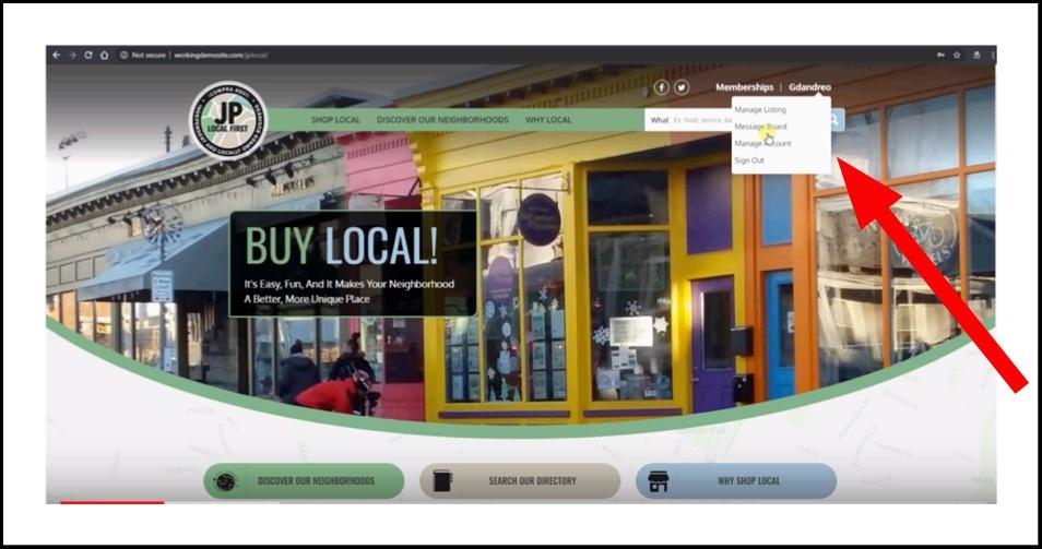 Display of homepage showing drop-down menu of member areas