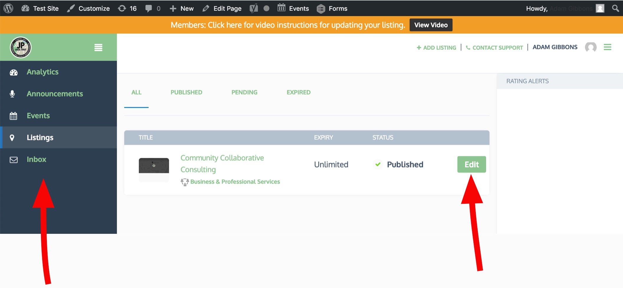 View of the Manage Listings page for Members ONLY